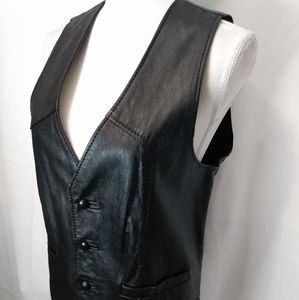 David James black leather vest